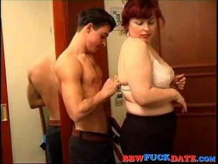Busty big lady ridding on a skinny guy