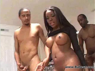 Stunning ebony cutie fuck by two BBC cocks